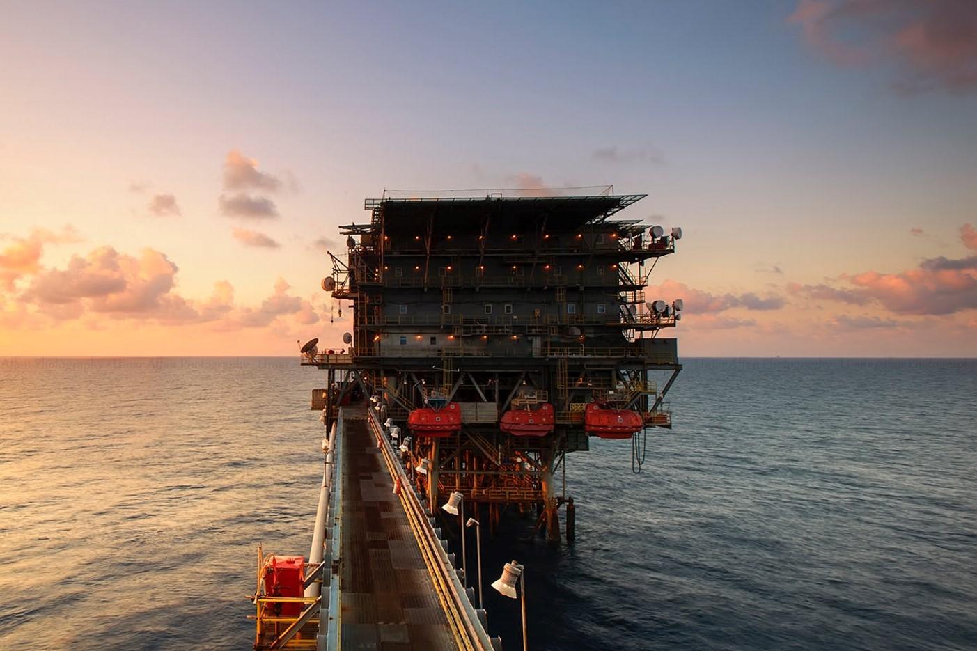 Oil pump in the sea