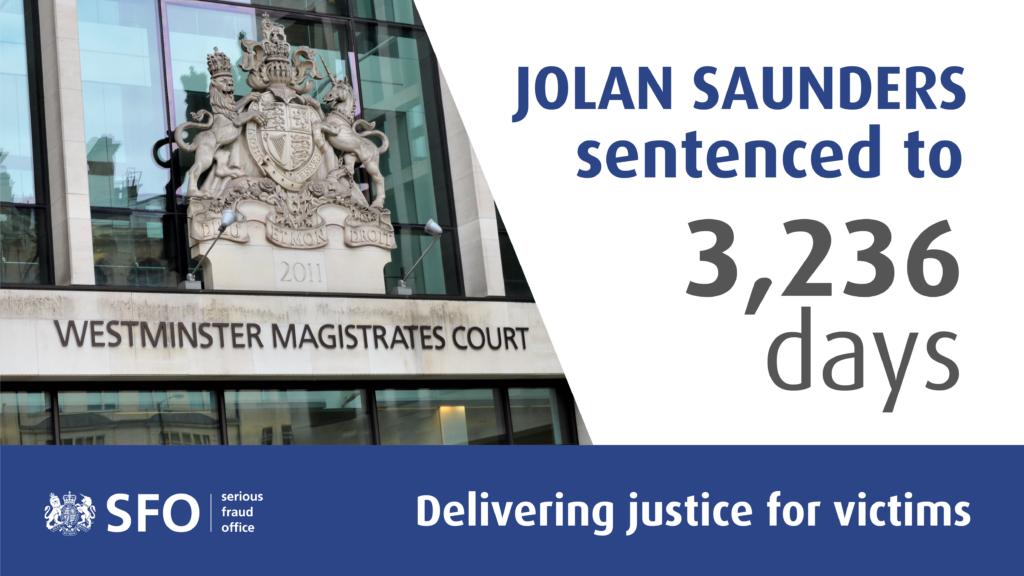 Jolan Saunders sentenced to 3,236 days